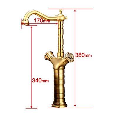 Miaoge europäischen Stil Messing 1 Loch 2 Hände Satin Küchenarmatur (Kaffee Bronze)