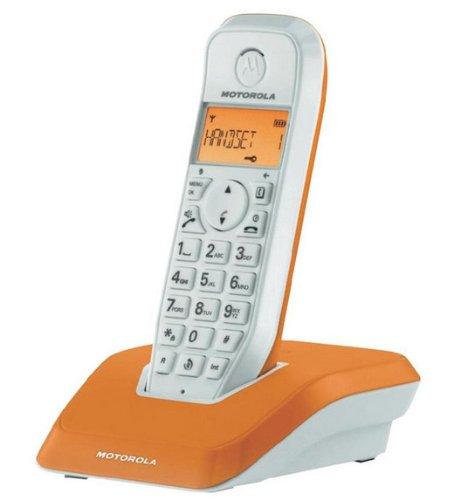Motorola Startac S1201 DECT Schnurlostelefon (Analog, Freisprechen, ECO-Modus, Displaybleuchtung auf Gerätefarbe abgestimmt) orange (Motorola-anrufbeantworter)
