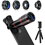 MACTREM Phone Camera Lens, 4 in 1 Cell Phone Lens Kit – 20x Zoom Telephoto Lens, 205° Fisheye Lens, 0.5x Wide & 25X Macro Lens, Clip, Phone Holder, Flexible Mini Tripod for iPhone Samsung Smartphones