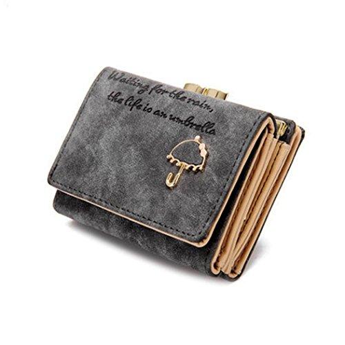 Portafoglio Donna, DDLBiz® Donne Ombrello Portafoglio in pelle pulsante della frizione della borsa (grigio)
