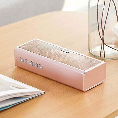 RAPLANC Bluetooth-Lautsprecher, tragbarer drahtloser HiFi-Lautsprecher mit Zwei Subwoofern, Stereo-Sound, USB- und AUX-Eingang und 4000-mAh-Powerbank, eingebautem Mikrofon,Rosa 2 Schallköpfe