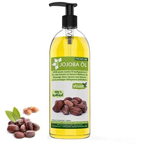 Kitama Jojobaöl kaltgepresst & nativ 1 Liter (1000ml) gold natürlich & vegan - Wertvolles Öl für Haut, Haar & Nägel - Massageöl Kosmetik Hautpflege