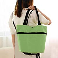 Folding Shopping Bags,Eco-Friendly Foldable Grocery Bags for Shopping Organizing Trolley Grocery Shopper Lightweight Foldable on Wheels(Light Green)