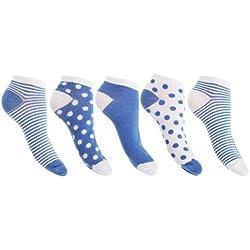 Floso - Calcetines para zapato deportivo ( paquete de 5 ) (37-41 EU/Azul)