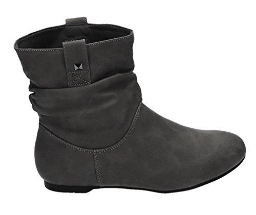 Damen Stiefeletten Stiefel Boots Flache Schlupfstiefel Schuhe 82 (38, Grau)