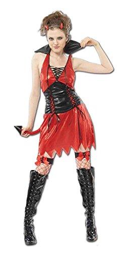 Kostüm Pop Kultur Halloween - Damen Halloween Hot Teufel Kostüm Onesize 36-42 (Onesize (36-42), Rot)