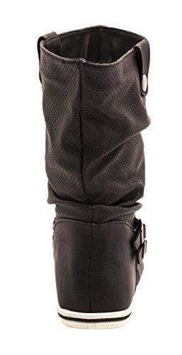 Flache Damen Schlupfstiefel bequeme Stiefel Boots Schwarz-Weiß