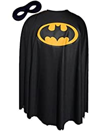 Black Batman Fancy Dress Cape Super Hero Superheroes Capes FREE MASK