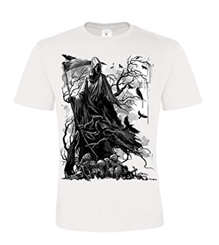 DarkArt-Designs Reaper Crows - Gothic T-Shirt für Herren - Reapermotiv Shirt Lifestyle Comic regular fit White