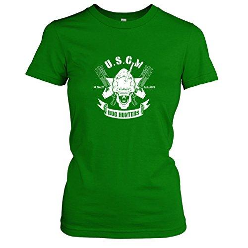 Bug Kostüm Hunter - Texlab USCM Bug Hunters - Damen T-Shirt, Größe L, Grün