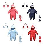 Vine Baby Schneeanzug mit Handschuhe Footies Säugling mit Kapuze Spielanzug Winter Overall Reißverschluss Vorne