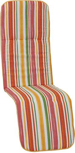 beo Chaise de Jardin auflagen Coussin passepoilé pour Fauteuil Relax de Jardin Printemps Rayures Multicolore Env. 175 x 48 x 5 cm