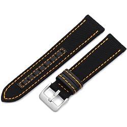 Hadley-Roma Men's MSM848RAG220 22-mm Black Genuine 'Kevlar' with Orange Stitching Watch Strap