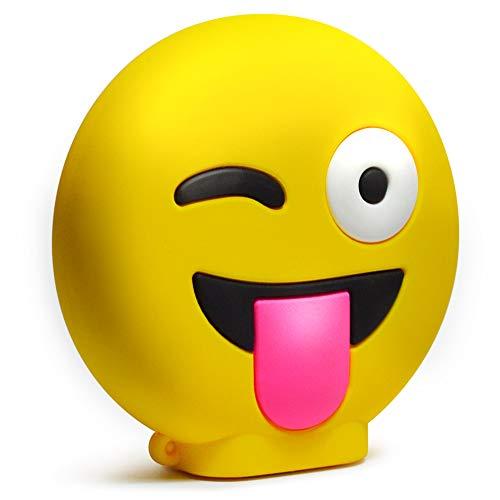 KawKaw Emoji-Powerbank mit 8800 mAh und 2X USB-Anschluss - Viele Motive wie lustige Smileys & süße Emojis - Geschenkidee witzig & inovativ - Kuss, Grinsen, Zwinkern, Zunge, Herzen, Brille (Zunge)