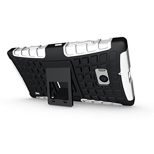 Etui Protektor Nokia Lumia 93016/32/64GB (3G/WIFI/4G/LTE) Bianco/Nero Con Stand––Custodia di protezione Silicone con stand Nokia 930–prezzi scoperta accessori tasca XEPTIO Case