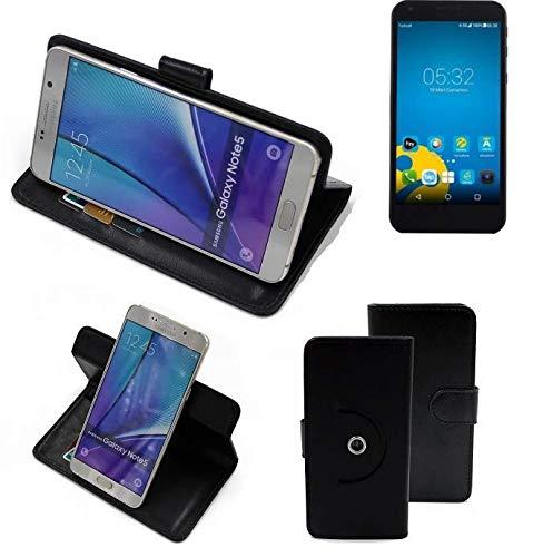 K-S-Trade® Case Schutz Hülle Für -Vestel 5000 Dual-SIM- Handyhülle Flipcase Smartphone Cover Handy Schutz Tasche Bookstyle Walletcase Schwarz (1x)