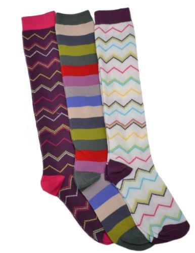 3 Pairs of Stripey Ladies Long Socks - Knee High Boot socks