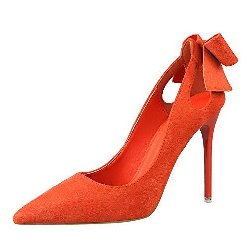 AalarDom Damen Blend-Materialien Stiletto Spitz Zehe Ziehen Auf Pumps Schuhe mit Schleife Orange-Schleife
