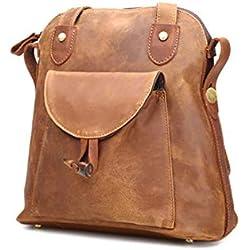 Haxibkena Mochila de cuero artesanal Real Leather Vintage Anti Theft Backpack for Women (Color : Brown)