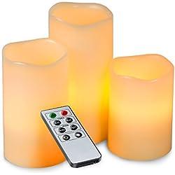 MAVIE Flammenlose LED Kerzen Licht, 3 Pack Warmweiß Emulational Rauchlose Kerzen Tee Licht mit Timer und Fernbedienung für Party und Dekoration