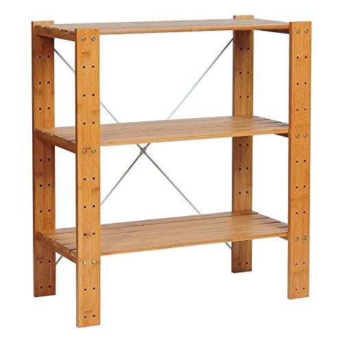 WOLTU RG9249br-a Standregal Bücherregal Badregal Küchenregal Schuhregal aus Bambus , mit 3 Ablagen , ca. 60x29x68.5cm , Höhe verstellbar , DIY montierbar, Natur