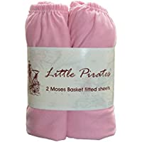 2 x Baby Pram/Crib/ Moses Basket Jersey Fitted Sheet 100% Cotton Pink 30x75cm
