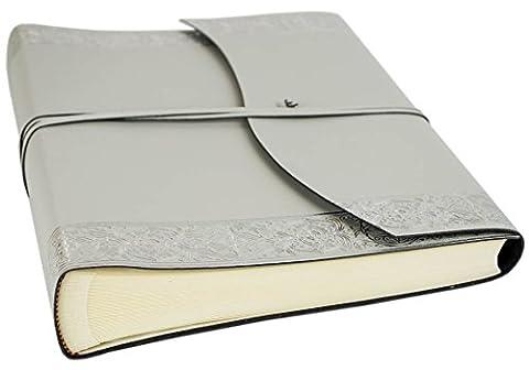 Album Photo Angelus Grand Format Enveloppe Cuir Italien Recyclé Fait-main Argent, Style Classique Pages (30cm x 24cm x