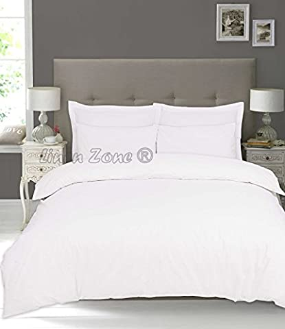 Linen Zone 100% Pure Natural Egyptian Cotton 200 Thread Count Duvet Cover Set Duvet Quilt Cover Pillow Cases (Double,