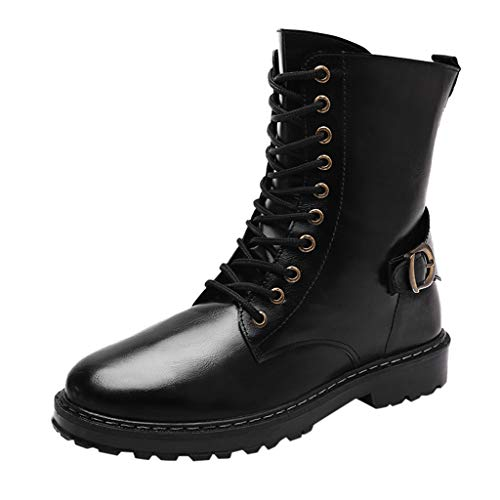 Fascino-M』 Herren Leather Boot Klassische Stiefel Lace Up Biker Boots Combat Boots Bequeme hohe Hilfe