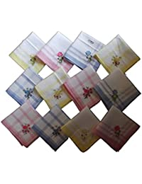 Milano Women's Floral Embroidered Cotton Hankies Multicolour, Free Size) - Pack of 12