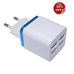 Mega Boost Hi Speed - Smart Wall Charger 4 USB (2.1 A / 1.0A / 1.0A/ 1.0A) Adaptor for Samsung OnePlus Lenovo Xiaomi Motorola Asus Honor Intex Oppo Cool pad gionee HTC Vivo Micromax data wind LeEco Lava LYF Spice Blackberry Mobile Power banks Mp3 Players Android Mobile Phone / Apple IPhone, IPad, IPod, windows series Mobile phones, Tablets, MP3 Players etc-EZ049(White)