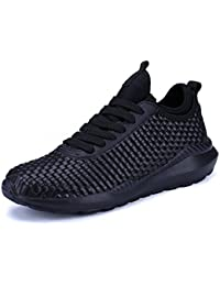 UBFen Mens Women Running Shoes Trainers Athletic Walking Indoor and Outdoor Sport Hand Woven Fashion Sneaker Casual Fitness White Black