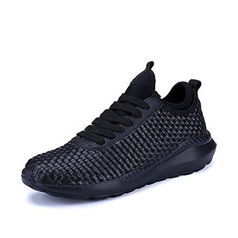 UBFen Chaussures de Sport Homme Femme Course Running Compétition Sneakers Respirante Fitness Casual Trail Entraînement Tissés à la main Blanc Noir 36-47 Noir EU 37