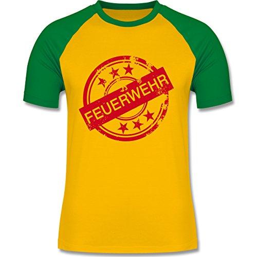 Feuerwehr - Badge Vintage Feuerwehr - zweifarbiges Baseballshirt für Männer Gelb/Grün