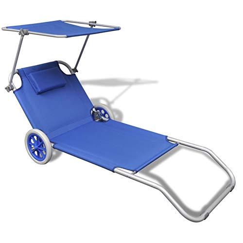 Milo srl spiaggina trolley trasportabile sdraio pieghevole lettino carrello in metallo con ruote per spiaggia mare e piscina tettuccio regolabile tessuto lavabile (1 pz, blu)