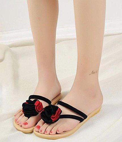 Mlle Xia Jiqia sandales à bout des sandales plates et sandales sandales glisser pantoufles School Girls Black