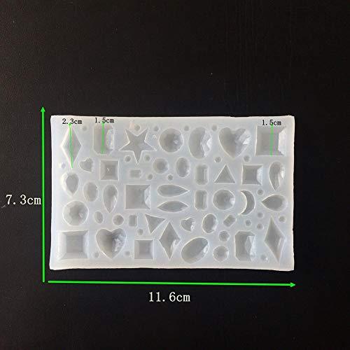 SULUO Handgemachte DIY Schmucksachen Kristallepoxid-Silikonformgeometrie lässt den Mond-Stern-Anhänger halb Liebesform in den Kuchen-Formen, A -