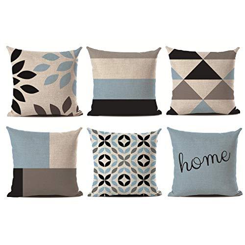 Crown cuscini divano moderni, cuscini da divano in lino geometrici blu motivi per decorativi giardino divano letto con cerniera invisibile 45 x 45 cm, 6pcs