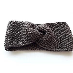 handgestricktes Stirnband Haarband Ohrenwärmer 100% Wolle in mokka