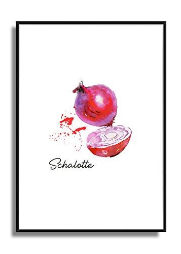 Wandbild Kunstdruck Poster SCHALOTTE im A4 Format, moderne Bild Deko für die Küche