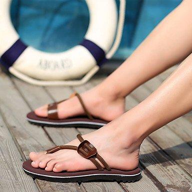 Slippers & amp da uomo;Estate tela di canapa casuale Tallone piano intrecciata cinturino Nero Marrone Rosso Khaki Altro sandali US8 / EU40 / UK7 / CN41