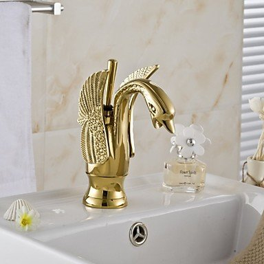 KYDJ American Standard Centerset Single Handle One Hole in Ti-PVD Bathroom Sink Faucet