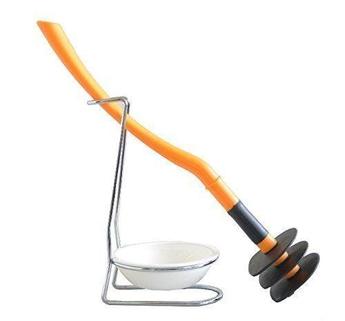 Mr. Sanitär WC Reinigungsgerät Silikonfrei, Geruchsneutral & Biegsam! Spezial Toilettenbürste - Klobürste - WC-Garnitur! Farbe Orange Untersetzer Weiß ! Made in Germany! Weltneuheit!!! …
