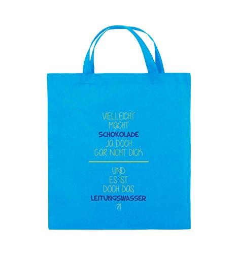 Comedy Bags - Vielleicht macht Schokolade ja doch gar nicht dick. - LEITUNGSWASSER - Jutebeutel - kurze Henkel - 38x42cm - Farbe: Schwarz / Weiss-Neongrün Hellblau / Hellgrün-Royalblau