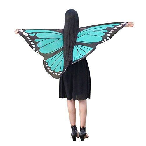 KPILP Frauen Mädchen Abstammungskleidung Chiffon Lange Schmetterlingsflügel Cape Weiche Schal Schals Karneval Show Nymph Party Cosplay Tanzkostüm(Mutter-grün