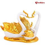Archies Golden Swan Couple with Baby Decorative Showpiece | Love Couple Bird Statues Set | Gift (H - 14.1 Cm)