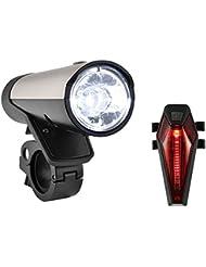 SUNSPEED Fahrradlicht Set/Fahrradbeleuchtung/Fahrradlampe, inkl. Frontlich und Rücklicht,50 LUX (260 Lumen)