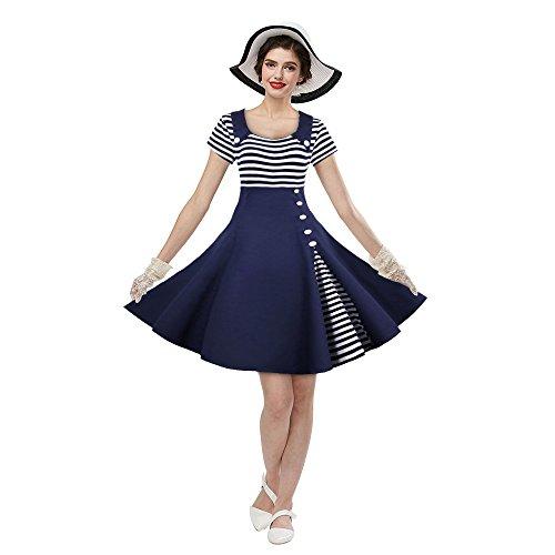 ZAFUL Damen Festliche Partykeider Hepburn Streifen Knopf Festkleid Kurzarm Cocktailkleid Schwing Kleid Marine Blau