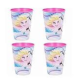 Theonoi 4 x Kinder Trinkbecher 260 ml/wählbar: Minnie - Princess - Frozen -PawPatrol Glas Kunststoff BPA frei - Geschenk für Mädchen - (Frozen)