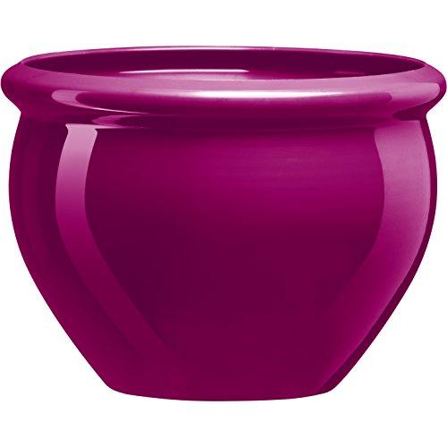 Emsa 514114 Blumenkübel für Innen- und Außenbereich, Glasurkeramik-Optik, Ø 26 cm, Pink, Siena Nobile
